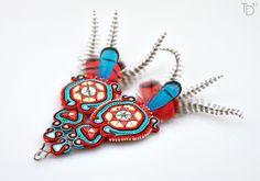 »Plumed Serpent« soutache earrings by Tereza Drábková