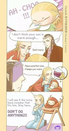 Thranduil and little Legolas https://www.facebook.com/monkeyscomics/timeline