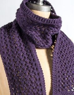 Free Knitting Pattern for 4 Row Repeat Extra Quick and Easy Scarf - Lace scarf by Virginia Sattler-Reimer features a 4-row repeat.