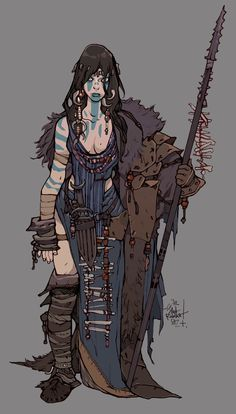 character concept flat real tribal fisherman female human northern tribal wield spear fur teeth ivory npc fighter soldier town seashore ice snow facepaint viking  Мои закладки