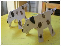 Harry the Dirty Dog paper plate stand-up dog made with real dirty splotches!  Cute.