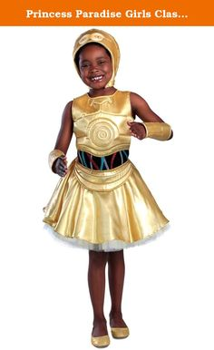 Princess Paradise Girls Classic Star Wars Premium C-3PO, Yellow, Small. Classic Star Wars C-3PO Dress - Dress, Hood and Arm Warmers.