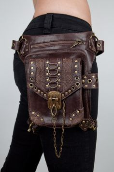 blaster 30 brown by JungleTribe on Etsy, $269.00..hmm..how convenient would this be no purse and carry your things on your waist in a cool way