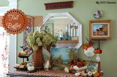 Fall Buffet Vignette....also using thrift store paintings to decorate your home for fall!