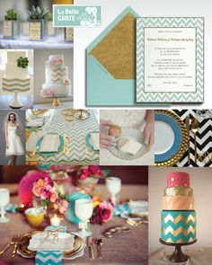 Online invitations golden wedding party turquoise chevron