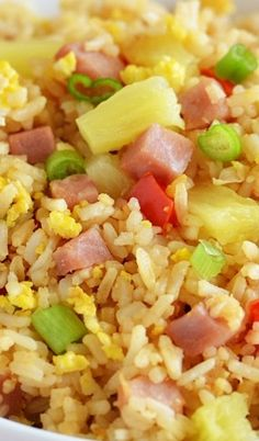 Hawaiian Fried Rice!!  Packed With Ham, Peppers and Pineapple!!  It Adds a Slight Sweetness and Makes This Rice Heavenly!!
