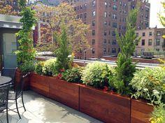 Brooklyn, NYC Roof Garden Deck: Bluestone Patio, Bench, Planter Boxes, Terrace - contemporary - deck - new york - by Amber Freda NYC Garden . Balcony Planters, Indoor Balcony, Wood Planters, Planter Boxes, Balcony Gardening, Rooftop Patio, Backyard Patio, Backyard Landscaping, Patio Bench