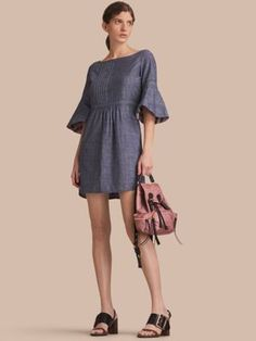 Burberry Bell Sleeve Cotton Chambray Dress with Check Detail  #burberry #burberrywomen #burberrywomenfashion #burberrywomendresses #burberry2017 #burberryclothes #womenfashion's #womendresses #womenfashion #womenclothes #ladiesfashion #ladiesclothes #fashion #style #fashion2017 #style2017 Whatsapp: 00923452355358 Website: www.original.pk