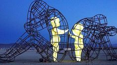 """flowartstation: """" Burning Man Sculpture By Alexander Milov This year, the """"Burning Man"""" festival in Nevada featured its first artistic piece from Ukraine. Alexander Milov's """"Love"""" was the first. Sculpture Burning Man, Powerful Art, Spirit Science, Inner Child, Public Art, Street Art, Art Pieces, Images, Around The Worlds"""