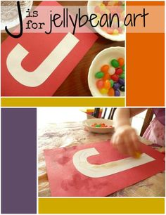 Letter J Activity: Jellybean Stain. This is a great way to introduce the letter J to your preschooler.
