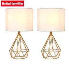 SOTTAE Golden Hollowed Out Base Modern Lamp Bedroom Livingroom Beside Table Lamp, 16 Desk Lamp with White Fabric Shade(Set of Side Table Lamps, Table Lamp Sets, Modern Bedroom Decor, Bedroom Lamps, Bedroom Ideas, Bedroom Inspo, White Lamp Shade, Fabric Shades, Lamp Shades
