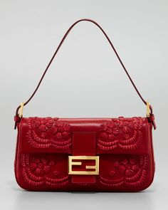 Fendi Embroidered Leather Baguette Shoulder Bag, Burgundy - LOVE this