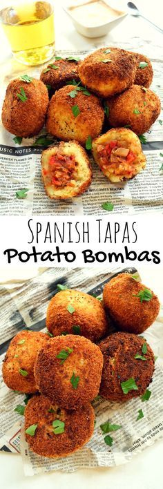 Spanish Potato Bombas Potato bombas are a popular Barcelona tapa. Mashed potatoes stuffed with mushrooms and red peppers then breaded and fried. Served with an aquafaba cocktail sauce for a delicious vegan and vegetarian snack or starter. Vegetarian Snacks, Vegan Appetizers, Appetizer Recipes, Shrimp Appetizers, Tapas Recipes, Vegan Recipes, Cooking Recipes, Cheese Recipes, Shrimp Recipes