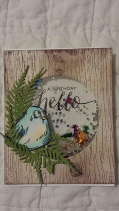 I used an Sizzix circle die to cut out where I wanted my shaker card to be. I then ran my paper thru an inked up wood grain embossing folder and added some foam behind to create a shaker. I used my Tim Holtz Crazy Bird and nested him in some foliage die cut from SU Old Olive paper.