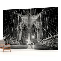 Just checked out a job.They want this in the theater room. New York City Urban Brooklyn Bridge PHOTO WALLPAPER WALL MURAL ROOM - 797VE