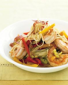 Capellini w/ Shrimp, Peppers & Salami ~ Red, orange, and yellow peppers work best here, adding sweetness and sunny color to angel-hair pasta. Adjust the amount of peperoncini to suit your family's taste. Quick Pasta Recipes, Seafood Pasta Recipes, Shellfish Recipes, Healthy Recipes, Seafood Dishes, Dinner Recipes, Delicious Recipes, Salami Recipes, Pizza Recipes