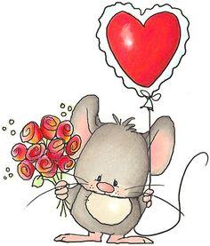 Raton con globo de corazon y rosas