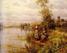 4 Country Women After Fishing On A Summer Afternoon landscape Louis Aston Knight