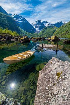 onceuponawildflower: Bondhusdalen - A crystal clear lake fed by...