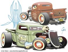 """Rodz"" #hotrod #ratrod #hot #rat #rod #Ford #pickup #truck #cartoon #artwork"