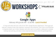 Did you know there are over 5 million organizations on ‪#‎Google‬ Apps with 50 million different users?! On February 4th Stellar Blue is holding a half-day Google Apps workshop from 8am-12:30pm so you can learn to utilize a few of the over 700 apps available. To learn more and register visit: http://stellarbluetechnologies.com/event/half-day-google-apps-workshop/?pk_campaign=HDGB0204PI30&pk_kwd=