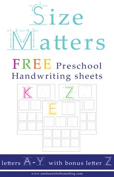 This Preschool Activity: Handwriting worksheets  will help your child not only better their letter writing, it will also help them become more consistent with their letter sizes. No more massive writing, followed by itty-bitty letters.  Greyson is still struggling with sizing his letters ...