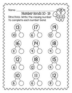 Number Bonds Worksheets, First Grade Math Worksheets, Teen Numbers, Math Numbers, Math Addition Games, Singapore Math, Reading Intervention, Math Activities, Therapy Activities