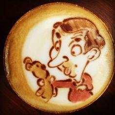 Mr.bean客製 #teddy #latteart  #cafe #brunch #tainan#coffeeart #latteartgram #ラテアート#mrbean #happy#funny by singlebrunch