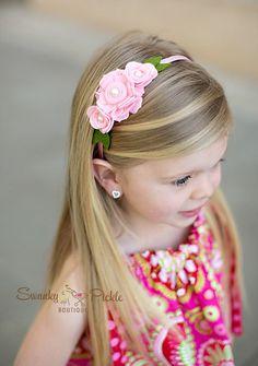 Pink Felt Headband Felt Rose Headband by SwankyPickleBoutique