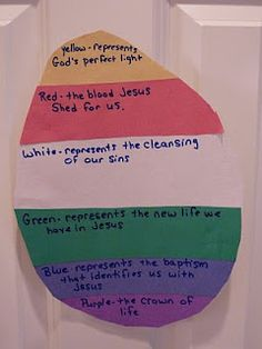 Yellow represents God's perfect light    Red represents the blood Jesus shed for us.    White represents the cleansing of our sins.    Green represents the new life we have Jesus.    Blue represents the baptism that identifies us with Jesus.    Purple represents the crown of life.