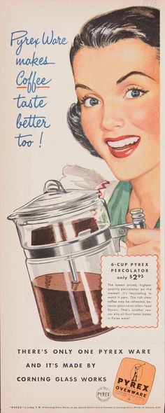 Vintage Pyrex percolator housewife advertisement celebrating Pyrex 100th anniversary