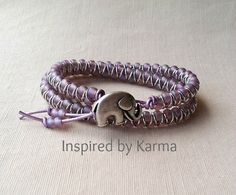Lilac Goddess Double Wrap Bracelet - $24.99 - Handmade Jewelry, Crafts and Unique Gifts by Inspired by Karma  #lilac #wrapbracelet #luckyelephant #giftsforgirlfriends #handmade #lovehandmade #tcslove
