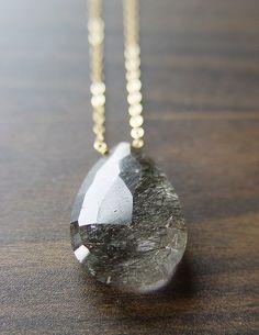 Black Rutilated Quartz Gold Necklace by friedasophie on Etsy, $39.00