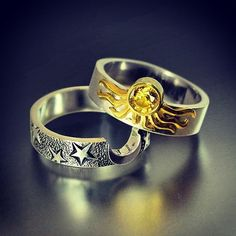 One, I love these rings. Two, I think we should play When the Day Met The Night at our wedding