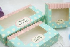 ブルーペーパーカップケーキ包装ボクサー、ブルー紙窓箱の包装、ケーキボックスと包装