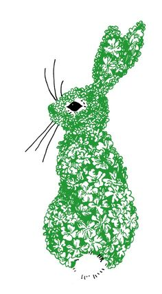 Green floral rabbit