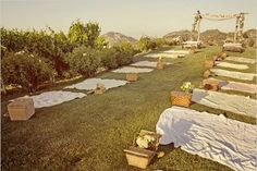 Wow! It doesn't get much more relaxed and intimate than a late afternoon picnic wedding. I love this idea.