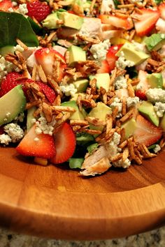 Strawberry Chicken Salad with Bacon and Avocado tossed in a Strawberry Balsamic Vinaigrette