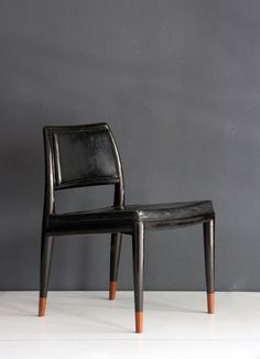 Frank Kyle; Wood and Leather Sidechair, 1950s.