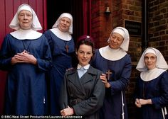 Laura (far right) as Sister Bernadette with the cast of Call the Midwife