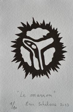 """""""Le marron"""", linogravure réalisée par Eric Schelstraete en dix exemplaires, 2013."""