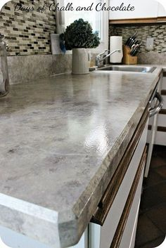 DIY How To Paint Laminate Countertops ! These all Turn Out So Gorgeous ! An Easy Low Cost Update That Has Major Impact In Your Home !