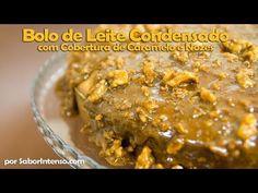 Receita de Bolo de Leite Condensado com Cobertura de Caramelo e Nozes