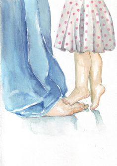 Original watercolor painting father and daughter polka dot dress denims love Father Daughter Photos, Daddy Daughter, Daughter Quotes, Son Quotes, Sister Quotes, Baby Quotes, Mother Quotes, Girl Quotes, Feet Drawing