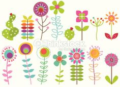 Vector Collection Of Funky Retro Stylized Flowers Arte vettoriale 181939239