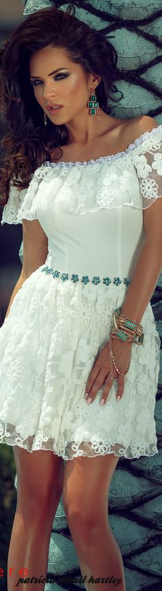 Claudia Stocia white dress women fashion outfit clothing style apparel @roressclothes closet ideas
