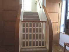 Image result for wooden stair gate Stairs Refurbishment, Wooden Stair Gate, Dog Barrier, Small Fireplace, Joinery, Gates, Home Improvement, Hardwood, New Homes