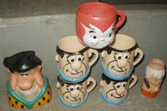 THE FLINTSTONES cups glassware FRED bank Bam Bam bottle PEBBLES toy