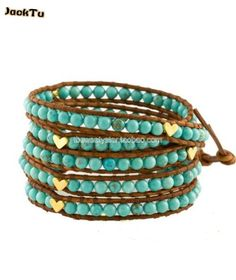 free shipping fashion jewelry green beads with sweet heart on natural brown leather lovly wrap bracelet