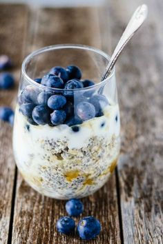 We're starting the day off right with Easy Blueberry Chia Overnight Oats! This easy and healthy breakfast recipe can be made in about 5 minutes!